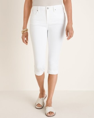 Chico's No-Stain White Fly-Front Denim Capris