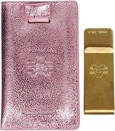 Angel Cola Metallic Leather Slim Front Pocket Money Clip Wallet Gold