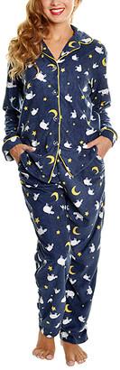 Angelina Women's Sleep Bottoms Sheep - Navy & White Fleece Sheep Pajama Set - Women & Plus