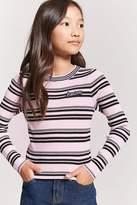 Forever 21 Girls Stripe Amore Sweater (Kids)