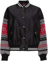 Miu Miu knitted logo sleeve bomber jacket