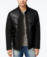Sean John Men's Mix-Media Stand-Collar Bomber Jacket