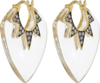 Sorellina Guitar Pick Rock Crystal And Diamond Earrings