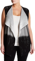 Lafayette 148 New York Two-Tone Pleat Knit Vest (Plus Size)