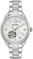 Bulova Diamond Dial Open Appature Stainless Steel Ladies Watch
