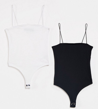 Daisy Street 2 pack square neck bodysuits in black and white