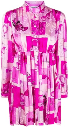 Balenciaga Pleated Baby Doll Dress