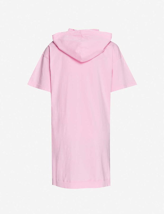 Moschino Bear-print hooded cotton midi dress