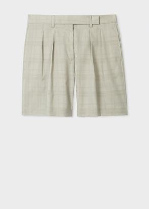 Paul Smith Women's Pistachio Slub Devore Check Tailored Shorts