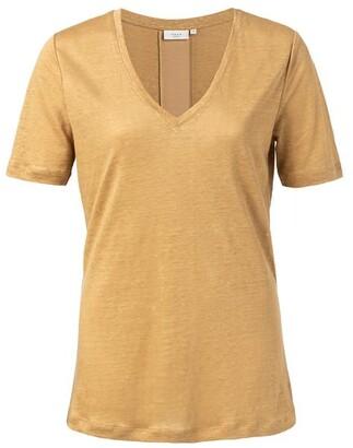Ya-Ya Oker V Neck Linen T Shirt - Large