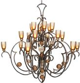 Filament Design Century 18-Light Tobacco and Gold Jacobean Chandelier
