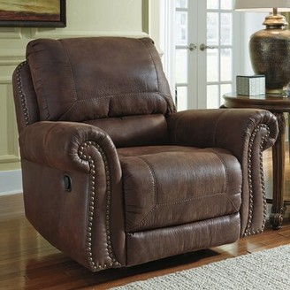 Three Posts Mooreland Faux Leather Manual Rocker Recliner Fabric: Espresso Faux Leather