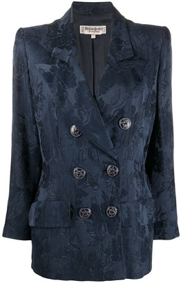 Yves Saint Laurent Pre Owned 1980s Double-Breasted Jacquard Blazer