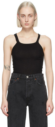 RE/DONE Black Ribbed Tank Top