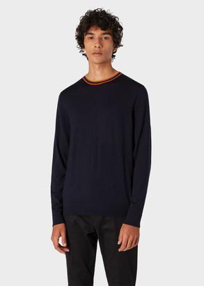Paul Smith Men's Dark Navy Merino Wool Sweater With 'Artist Stripe' Collar