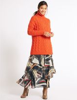 Marks and Spencer Printed Ruffle A-Line Midi Skirt
