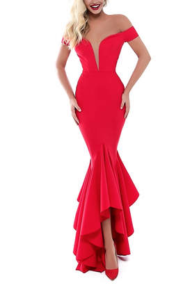 Tarik Ediz Karley Off Shoulder Gown