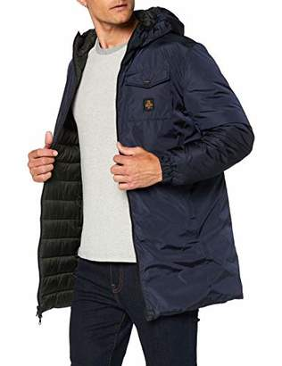 Refrigiwear Long Winter Reversible Down Jacket Long Midtown for Men with Hood, Waterproof and Windproof, with Ecological Synthetic Feather Padding