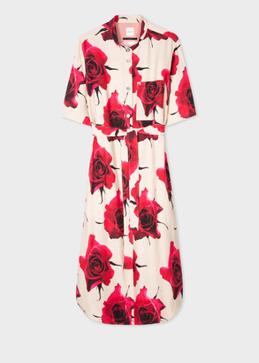 Paul Smith Women's 'Monarch Rose' Print Linen-Blend Shirt Dress