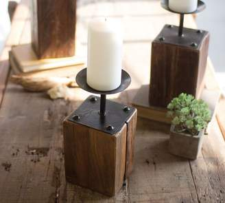Pottery Barn Recycled Wood Candle Holders - Set of 3