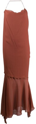 Romeo Gigli Pre Owned 1999 Silk Ruffled Slip Dress