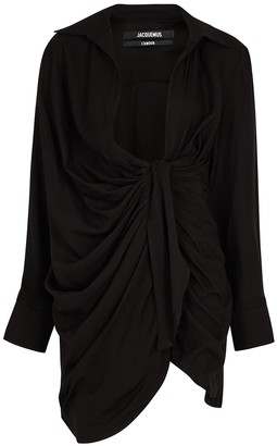 Jacquemus La Robe Bahia black twill mini dress