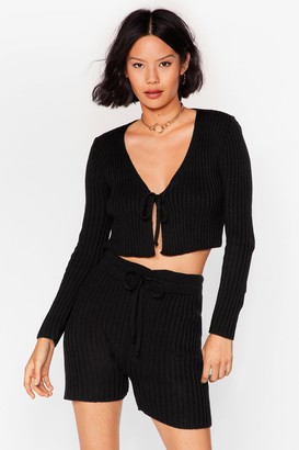 Nasty Gal Womens Let Knit Be Tie Cardigan and Shorts Set - Black