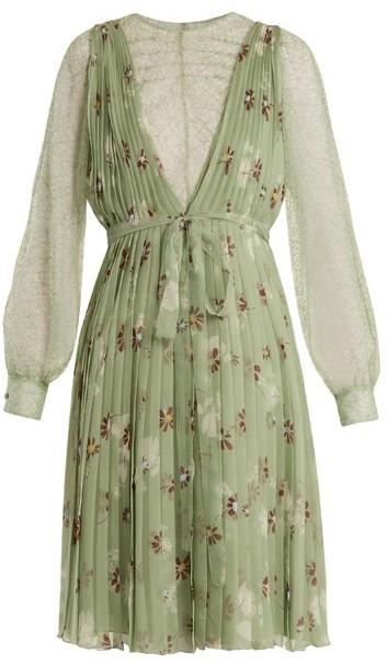 Valentino Floral Print Lace Trimmed Silk Chiffon Dress - Womens - Green Print
