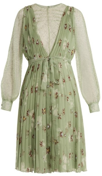 Valentino Floral-print Lace-trimmed Silk-chiffon Dress - Womens - Green Print
