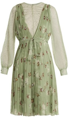 Valentino Floral Print Lace Trimmed Silk Chiffon Dress - Womens - Green Print