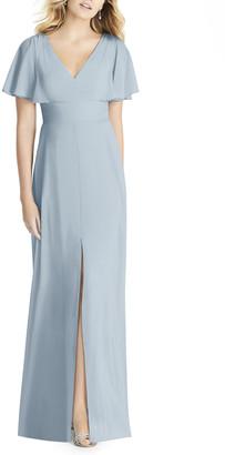 Social Bridesmaids Split Sleeve Chiffon A-Line Gown