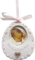1 X Baby Girl's 1st Christmas Bib Frame 2014 Carlton Heirloom Ornament