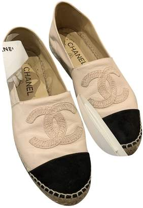 Chanel Pink Leather Espadrilles