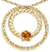 Tommaso design Studio Tommaso Design Round 3mm Genuine Citrine and Diamond Circle Pendant 14k