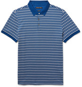 Michael Kors Striped Textured-Knit Pima Cotton Polo Shirt