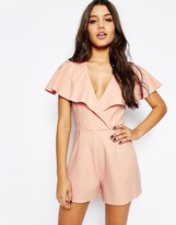 Asos Occasion Ruffle Wrap Playsuit