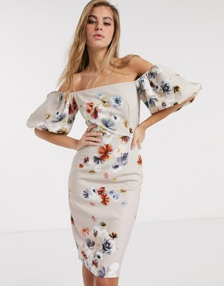 Little Mistress pencil dress with balloon sleeve in floral print