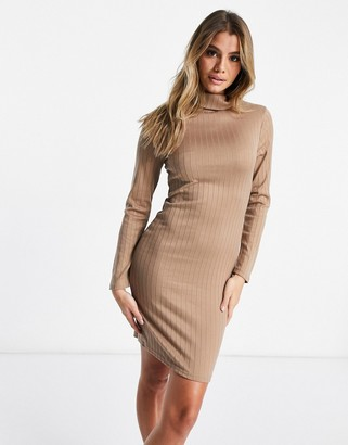 Brave Soul high neck ribbed jersey dress in camel