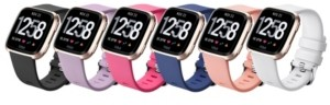 Posh Tech Unisex Fitbit Versa Assorted Silicone Watch Replacement Bands - Pack of 6