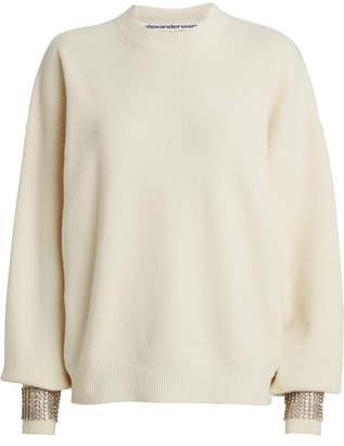 Alexander Wang Embellished Boiled Wool-Blend Sweater