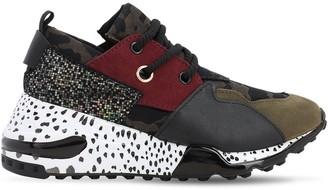 Steve Madden Faux Leather Sneakers W/ Glitter