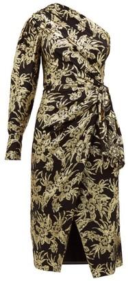 Altuzarra Chanda Floral-brocade Ruched One-shoulder Dress - Womens - Black Gold