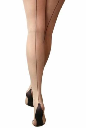 Jonathan Aston New Seam & Heel Tights-Nude/Black-C (Large)