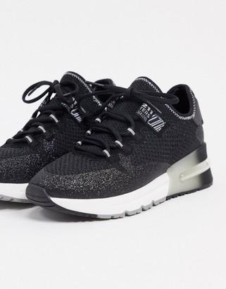 Ash krush glitter chunky runner trainers in black