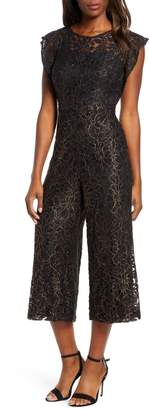 Donna Ricco Flounce Sleeve Lace Jumpsuit