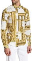 Versace Long Sleeve Kaleidoscope Print Trim Fit Woven Shirt