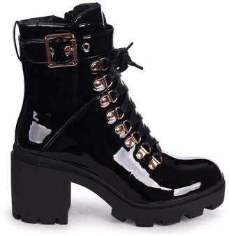 Linzi HYPNOTIC - Black Patent Chunky Heeled Military Boot With Rose Gold Eyelets & Buckle