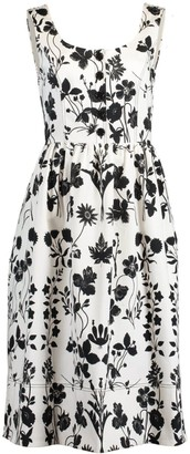 Oscar de la Renta Botanical Print Midi Dress