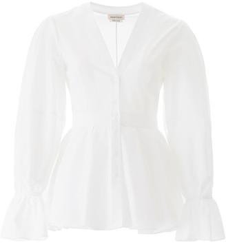 Alexander McQueen Peplum Shirt With Puff Sleeves