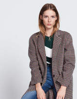 Wool and cotton coat with printed checks
